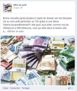 offre de crédits sur facebook