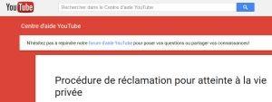 procédure de réclamation sur youtube