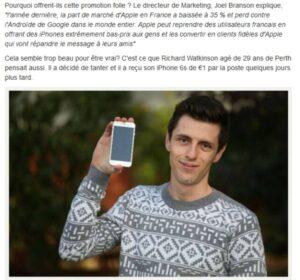 Iphone 6S à un euro